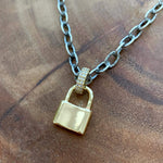 Sterling Silver & Gold CZ Padlock Necklace