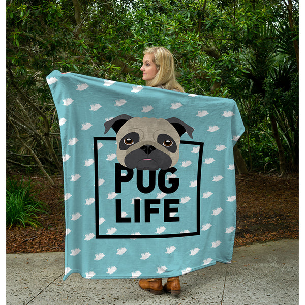 "Pug Plush Throw (50"" x 60"")"