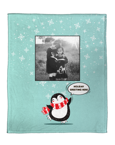 A Penguin Wonderland Personalized Throw Blanket