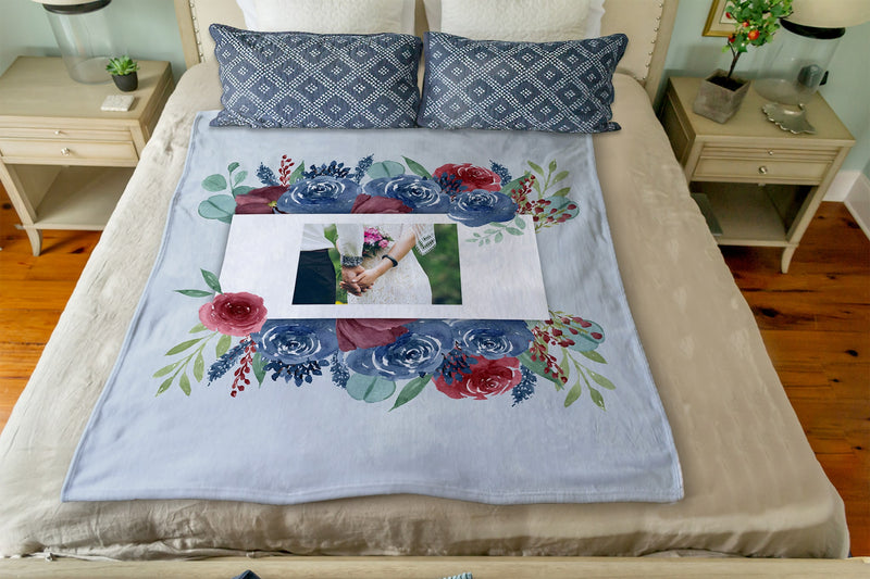 "Blue Flowers: Plush Throw (50"" x 60"")"