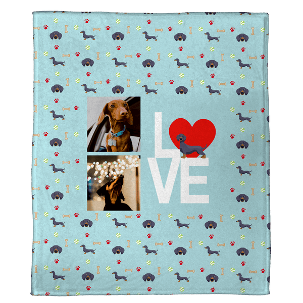 "We Love Dachshunds - A Plush Pet Blanket  (60"" x 50"")"