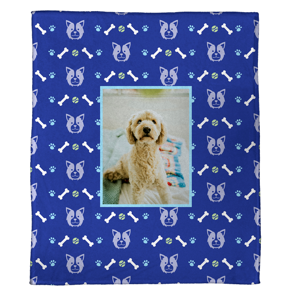 "Dog with a Bone - A Plush Pet Blanket  (60"" x 50"")"