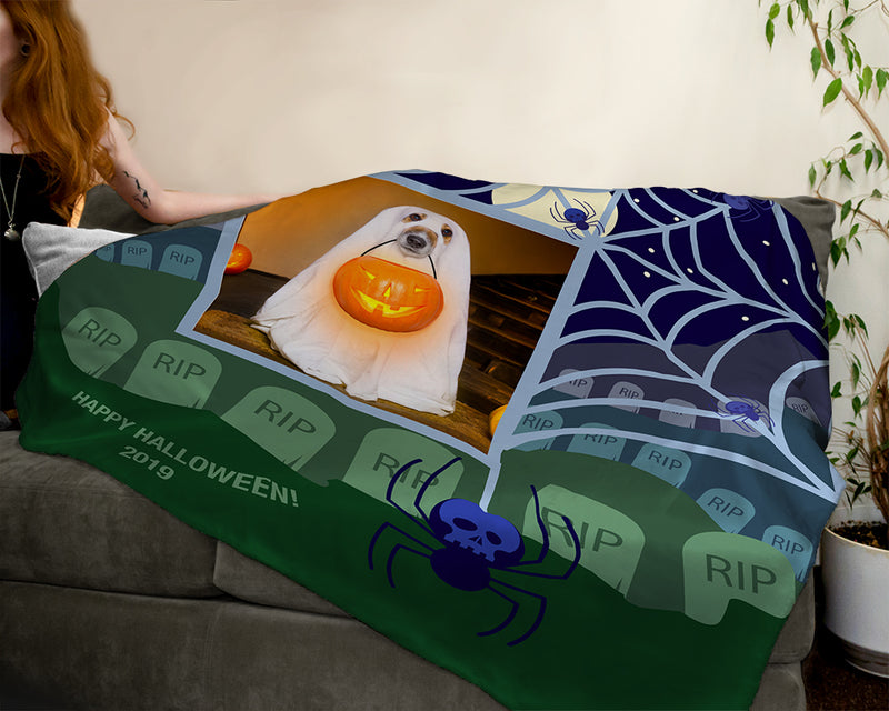 Personalized Halloween Photo Throw Blankets - Along Came a Spider
