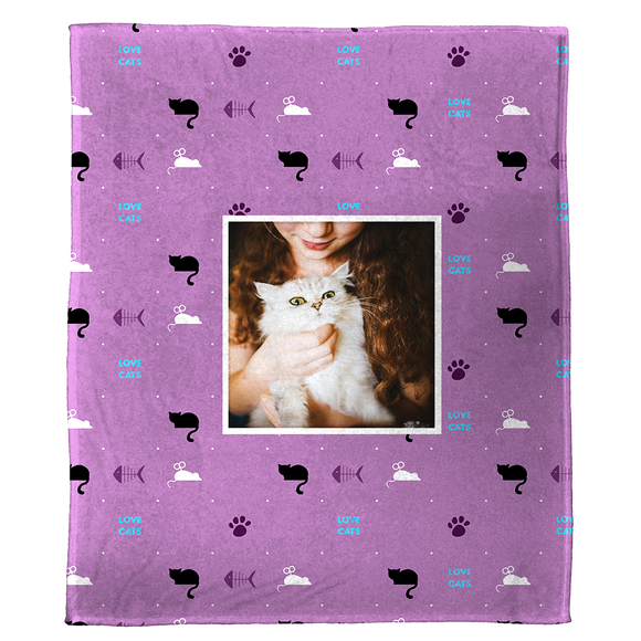 "Love Cats - A Plush Pet Blanket  (50"" x 60"")"