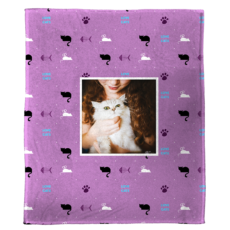"Love Cats - A Plush Pet Blanket  (60"" x 50"")"