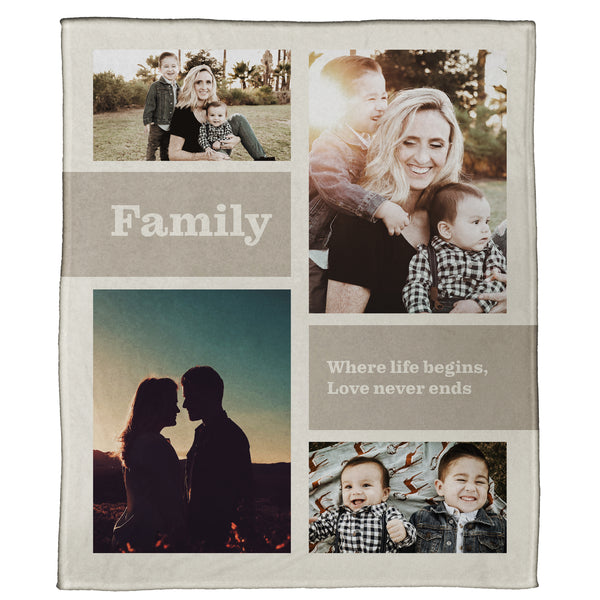 "Life Begins with Family Plush Throw (60"" x 50"")"