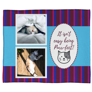 "It's Not Easy Being Purr-fect: A Pet Plush Throw In Blue (50"" x 60"")"