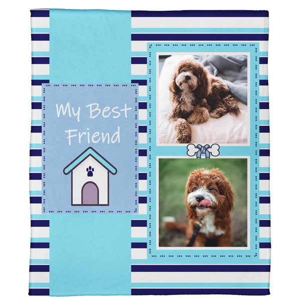 "My Best Friend: A Pet Plush Throw- Blue (60"" x 50"")"