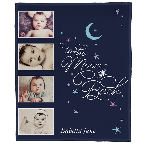 "FOTO Baby To The Moon & Back Navy Plush Throw (50"" x 60"")"