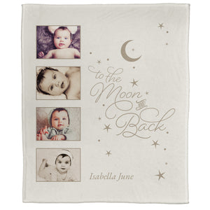 "FOTO Baby To The Moon & Back Ivory Plush Throw (50"" x 60"")"