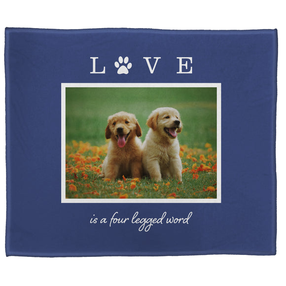 "FOTO Pets Love Four Legged Blue Plush Throw (50"" x 60"")"