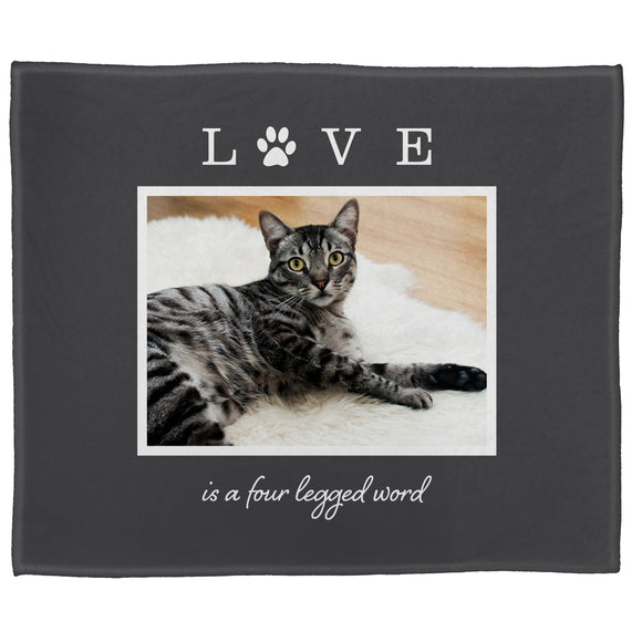 "FOTO Pets Love Four Legged Gray Plush Throw (50"" x 60"")"