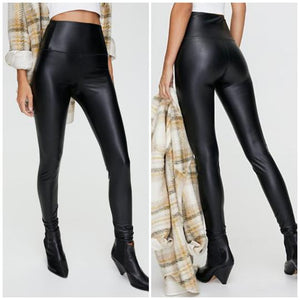 Winter stretch plush leather pants
