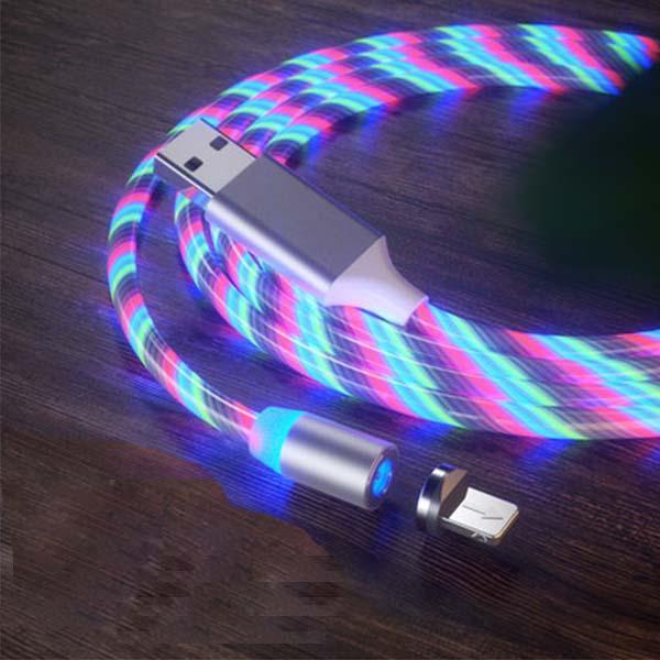 Newest 3 in 1 Fast Charging Colorful Streamer Magnetic Data Line for Android/iOS/Type C Phone