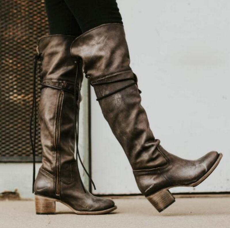 3a5f131e16a Women's Shoes - Vintage Knee High Mid Heels Boots