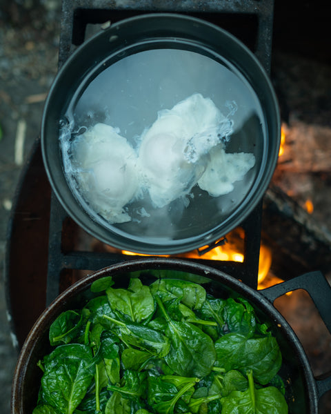 Poached Eggs and Wilted Spinach