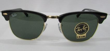 SUNGLASSES RAY-BAN CLUBMASTER BLACK RB3016 W0365 49-21 SMALL