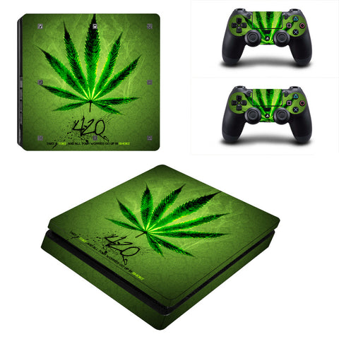 Black or Green Weed - Playstation 4 Slim Skin