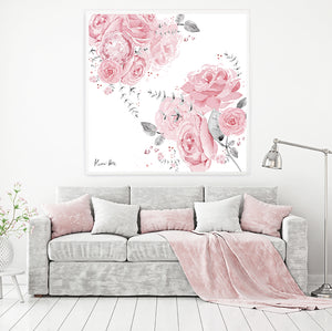 'Coming Up Roses' Large Square Art Print by Kerrie Hess