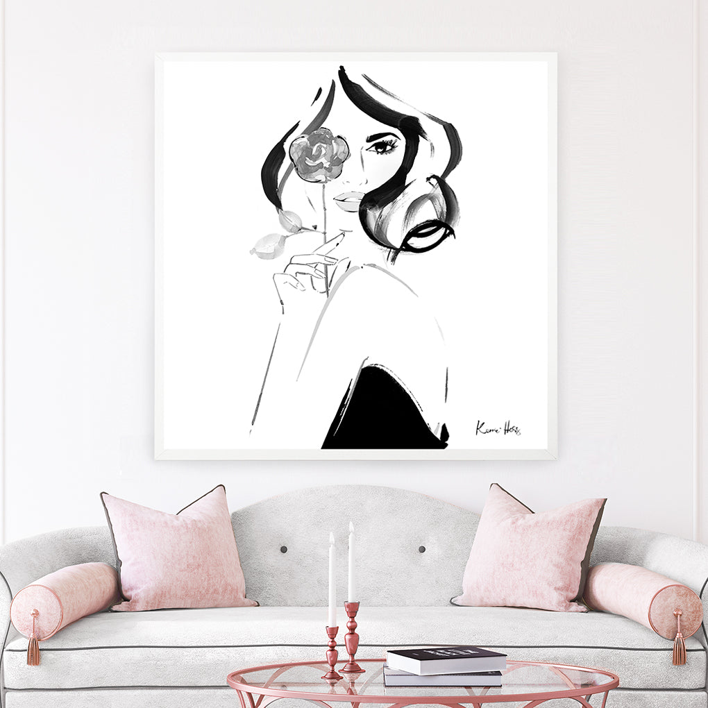 'Rosette Blanc' large square Art Print by Kerrie Hess
