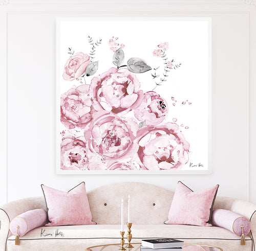 'Peony Bloom' Square Art Print by Kerrie Hess