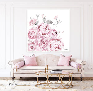 Peony BLOOM A1 Square Art Print by Kerrie Hess