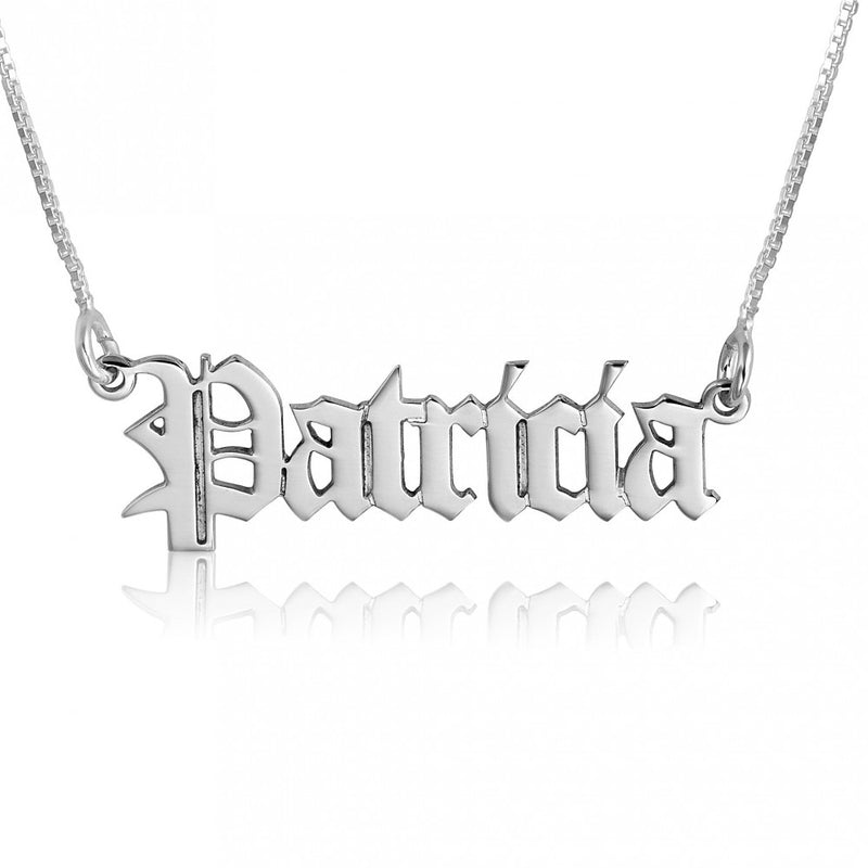 THE OLD ENGLISH SILVER NAME NECKLACE