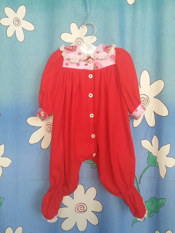 STRAWBERRY SHORTCAKE FLANNEL GROSUIT - Fits size 000 to 0