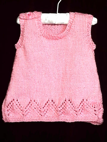 106 - Granny Aggies PINK KNITTED APRON TUNIC - Size 0