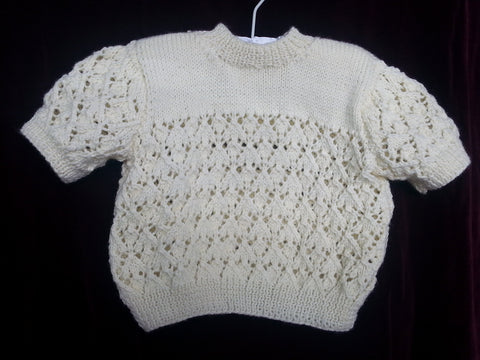 99 - Granny Aggies LEMON CREME DIAMOND-KNIT TOP - Size 00