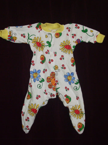 71 - BLOOMING BABY SLEEPSUIT - LEMON - Size 000