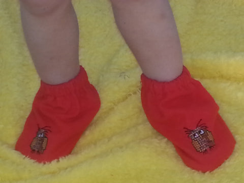 165  - RED FLANNEL BOOTIES - WINDSWEPT OWL - Fits size 000 to 0
