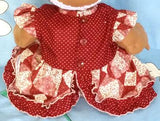 216 - 2PCE BURGUNDY FLORAL CRAWLER SET - TOP & BLOOMERS - Size 1