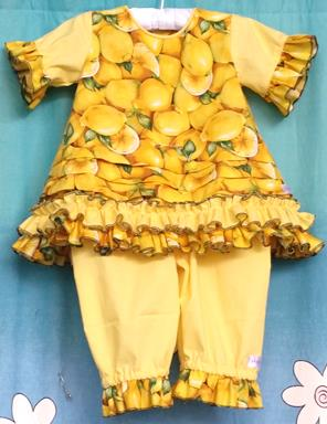 209 - 2 PCE LEMON BABYDOLL DRESS & BLOOMERS - Size 0