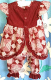 214 - 2PCE BURGUNDY FLORAL CRAWLER SET - TOP & BLOOMERS - Size 00