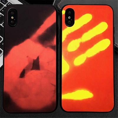Compatible with iPhone Fashion Color Changing Thermal Sensor Fluorescent Thermal Heat Induction Soft TPU Back Case