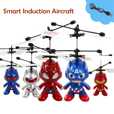 Mini Drones Smart Induction Aircraft Super Spider-Man Captain America Astronaut Flying Sensors Helicopter Kid Toys Gift