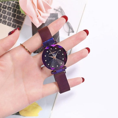 Fashion Ladies Wrist Watch, Luxury Magnetic Starry Sky Female Clock Quartz Wristwatch