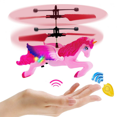 Unicorn Toys Gifts for Girls 6 Years Old,Pink Mini RC and Hand Controlled Flying Helicopter Unicorn Fairy Toy Doll for Birthday