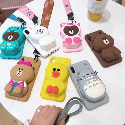 Cute 3D Cartoon Zipper Wallet Phone Case, Soft TPU Back Cover + Silicone Bag with Strap for iPhone