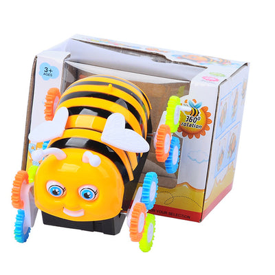 Cute Bee Stunt Electric Toy Cars Automatically Encounter Obstacle Flip Animals Car