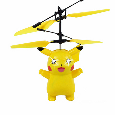 Pikachu Fly Flashing Helicopter Hand Control RC Drone Toys