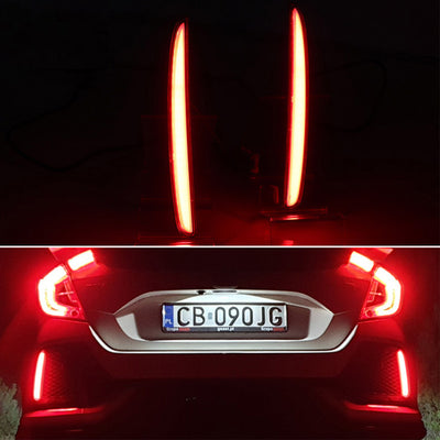2PCS For Civic Hatchback Multi-function LED Rear Bumper Light Rear Fog Lamp Auto Bulb Brake Light Reflector