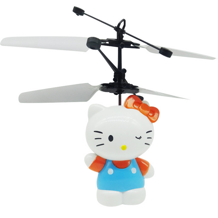 Mini Hello Kitty LED Light Fly Flashing Helicopter Hand Control Toys Gift