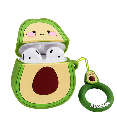 Airpods 1&2 Case, Cute Funny Cartoon Character Soft Silicone Airpod Cover, Fun Cool Keychain Design Skin, Fashion Animal Designer Cases Air pods(Avocado/Peach/Strawberry)