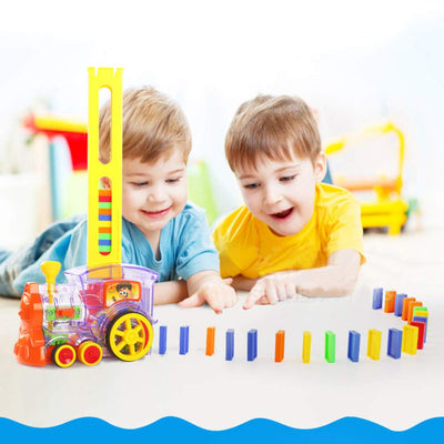 Domino Train Toy Set, 60pcs Colorful Domino Game Building Blocks Car Stacking Toy