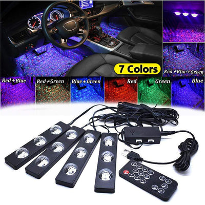 Car Interior Lights, 4Pcs Car Led Strip Light Usb Multicolor Car Under Dash Starlight Lighting Kits with Music Sound Active Function Wireless Remote Control