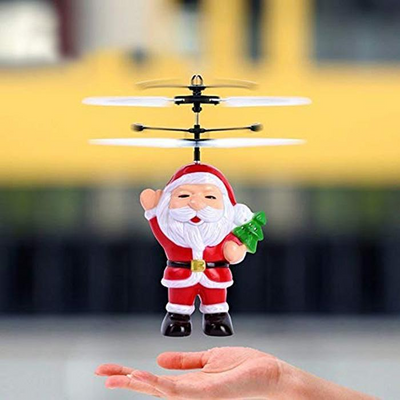 Electric Infrared Sensor Santa Claus Aircraft LED Flashing Light About 30 Minutes Helicopter Toy