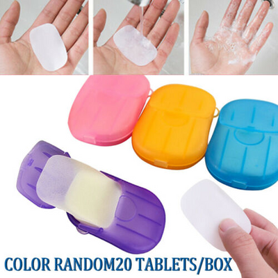 20 Pcs Paper Soap Outdoor Travel Bath Soap Tablets Portable Hand Washing Small Sheet