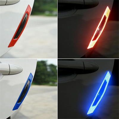 Car Door Edge Protector Anti-Scratch Reflective Warning Sticker Strips Carbon Fibre 4Pcs